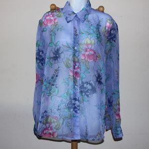 beautiful lavender sheer floral blouse
